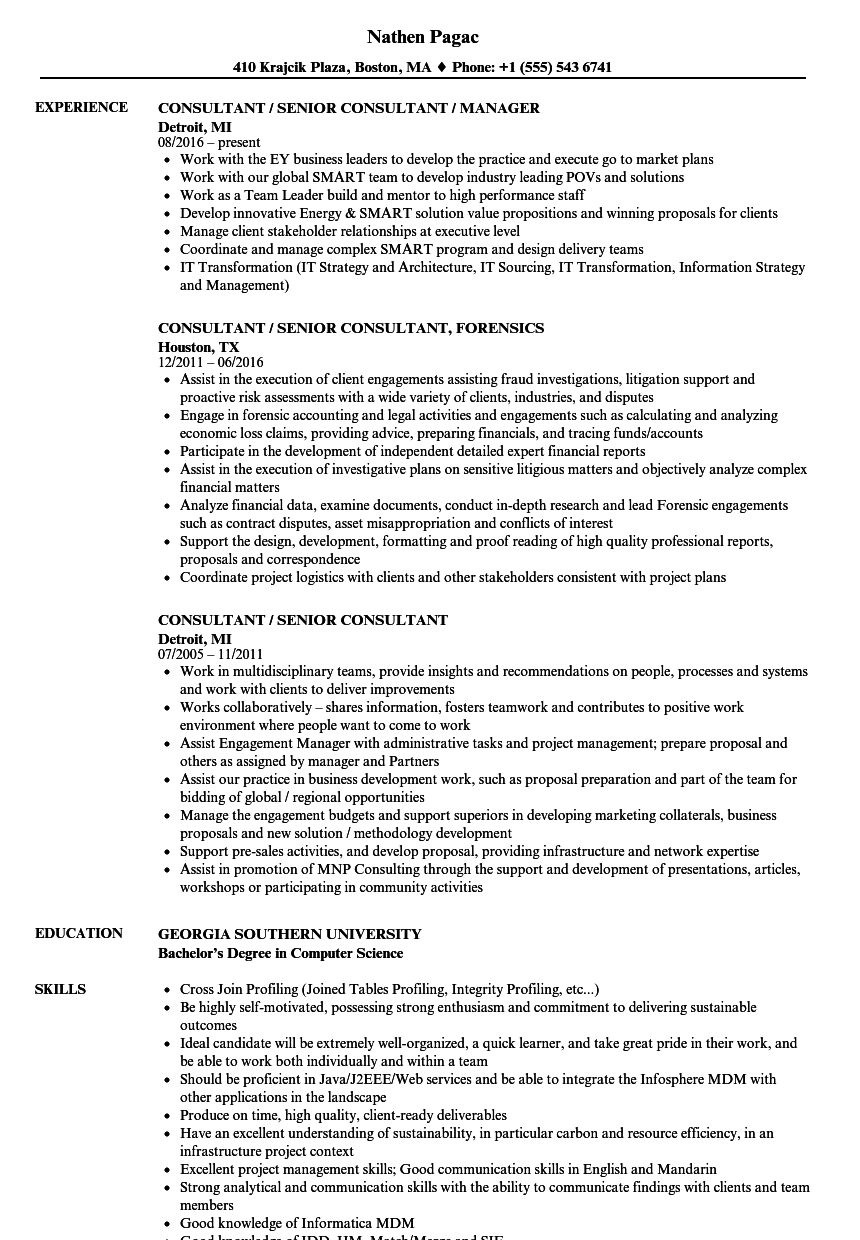consultant    senior consultant resume samples
