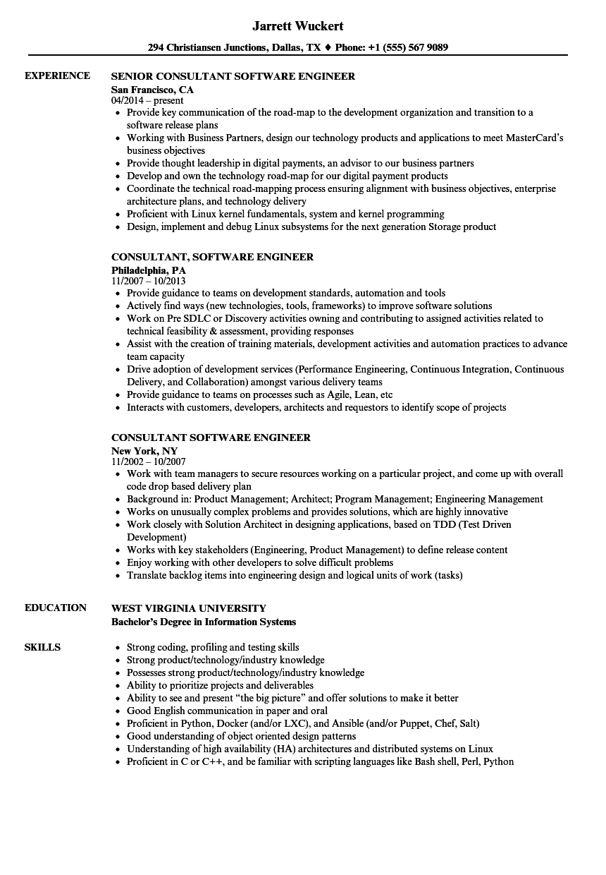 consultant software engineer resume samples