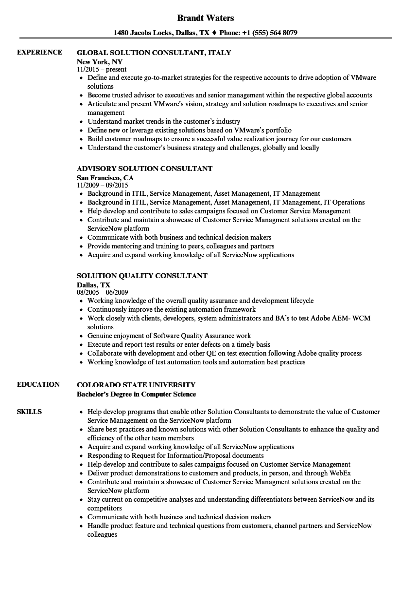 download consultant solution resume sample as image file - Resume Samples