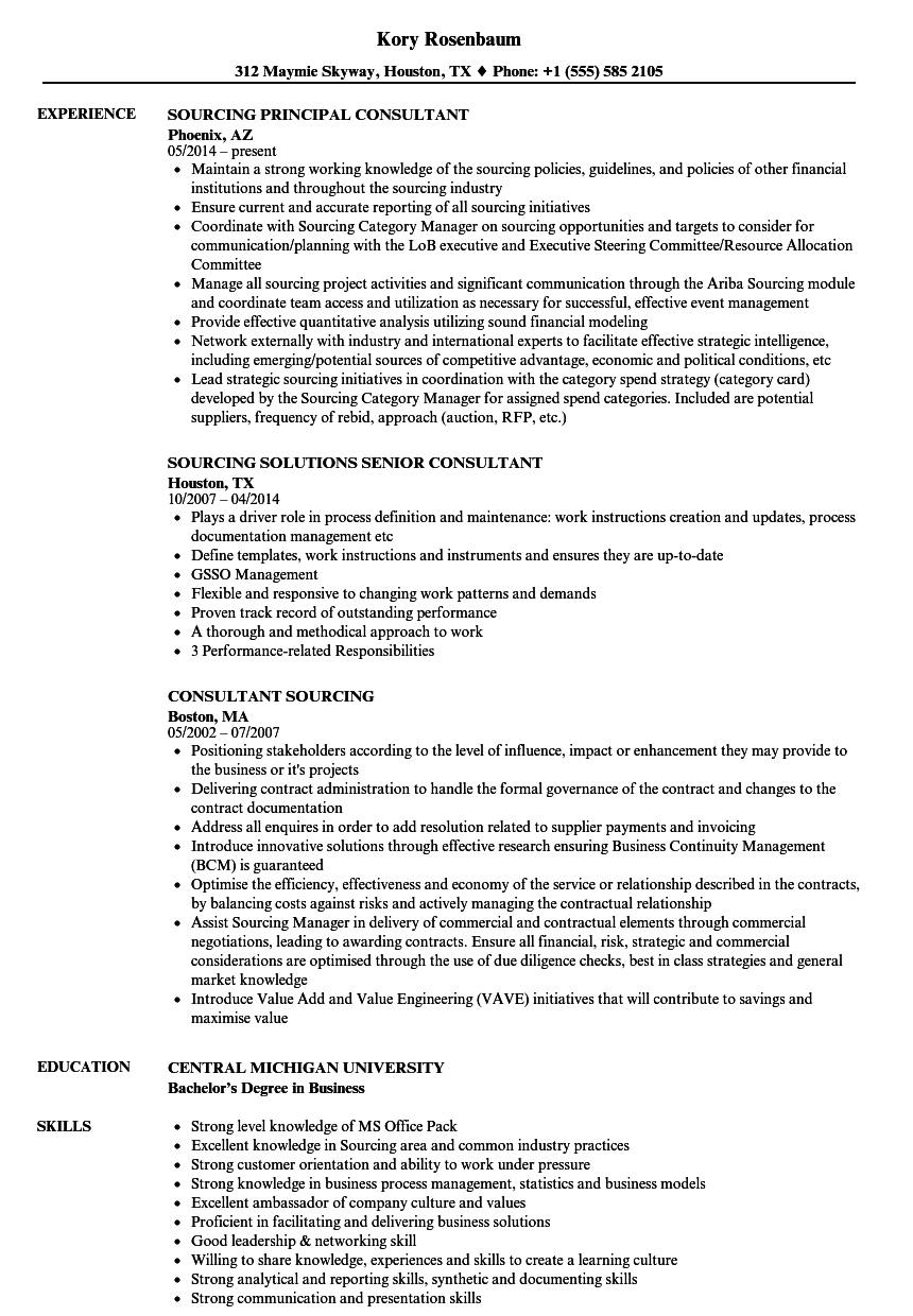 consultant sourcing resume samples