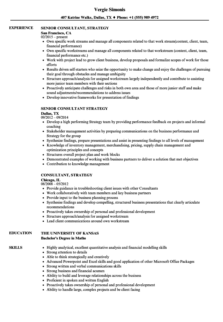 consultant  strategy resume samples