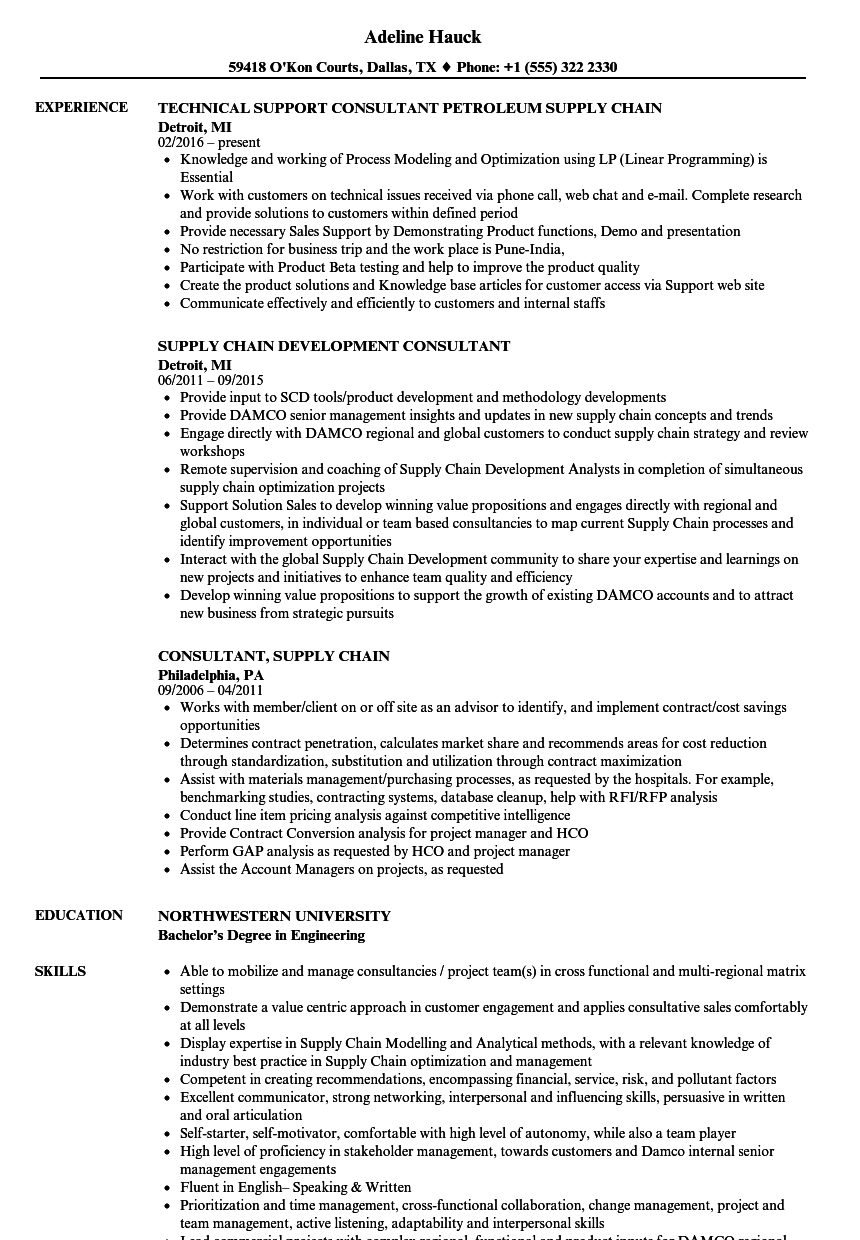 consultant  supply chain resume samples