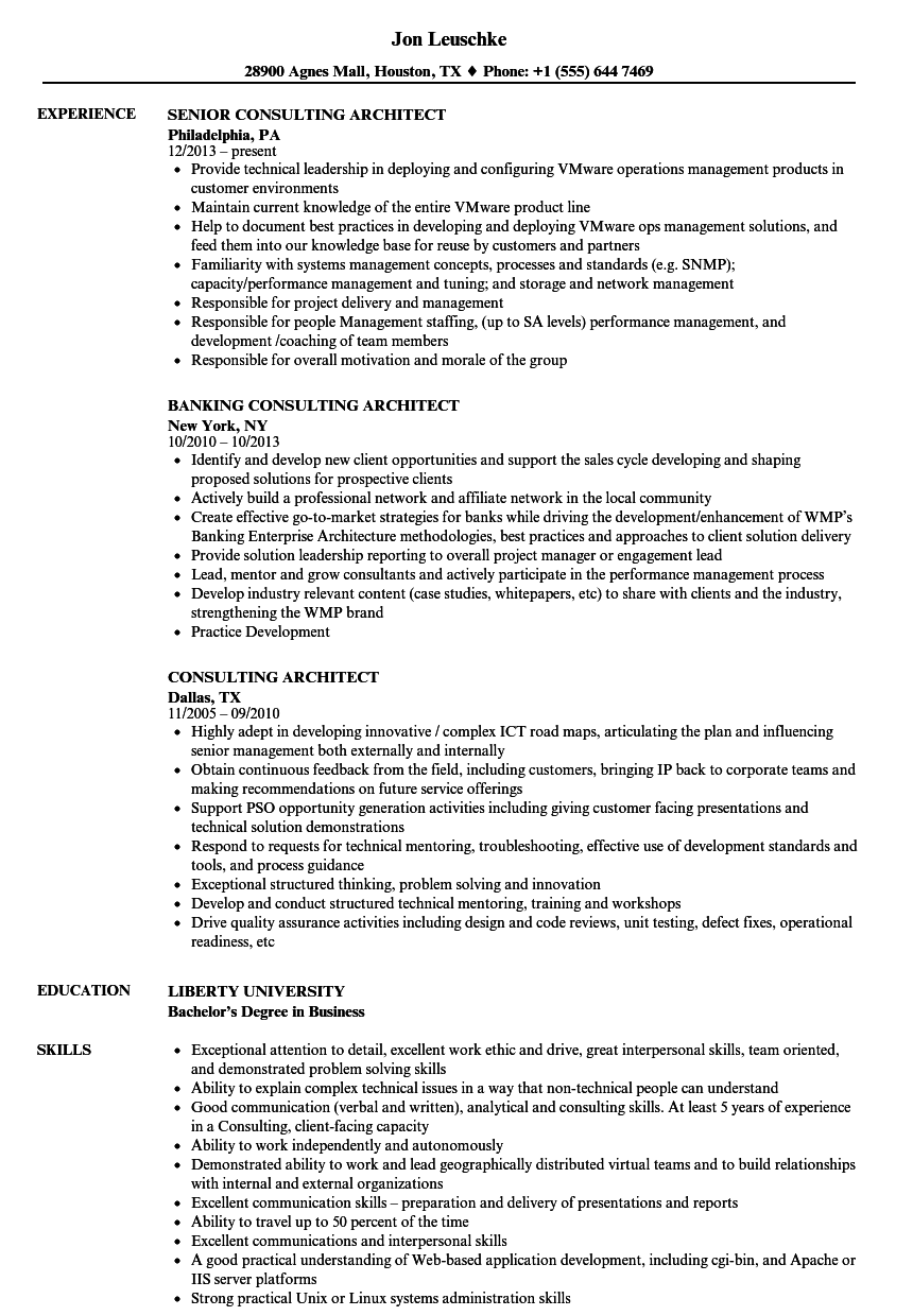 consulting architect resume samples