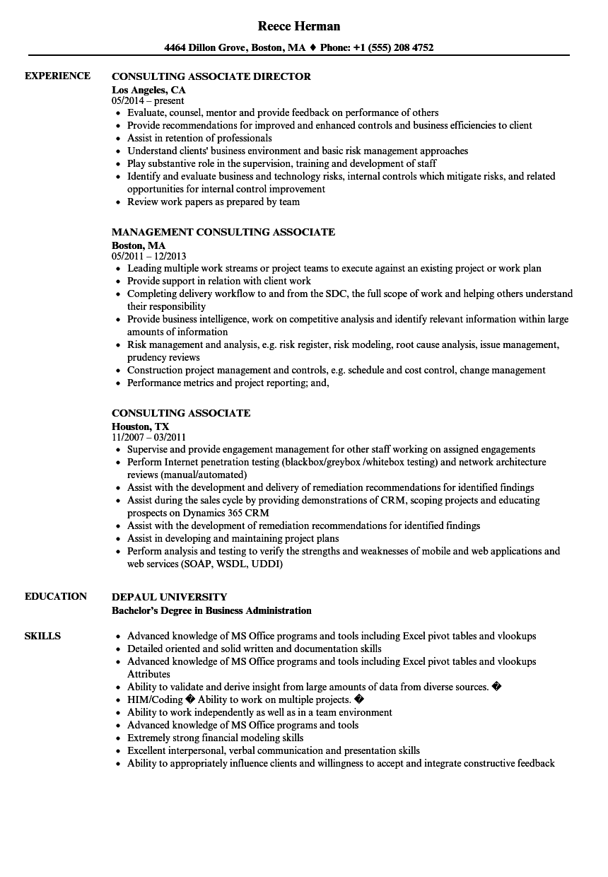 download consulting associate resume sample as image file - Consulting Associate Sample Resume