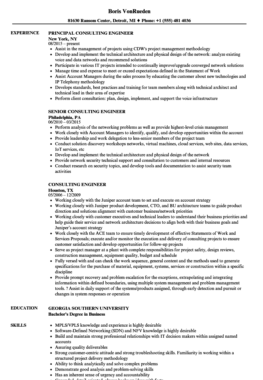 consulting engineer resume samples