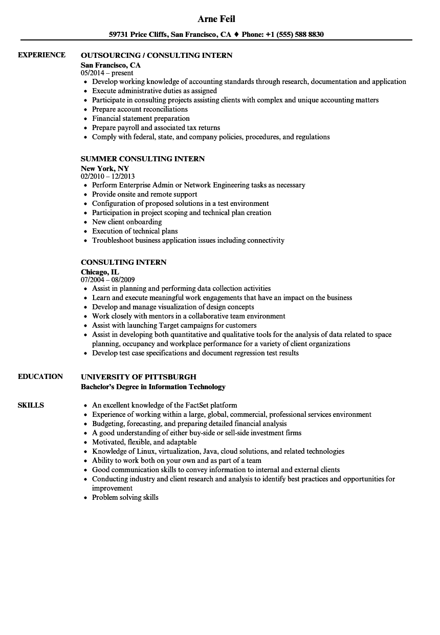 Consulting Intern Resume Samples | Velvet Jobs