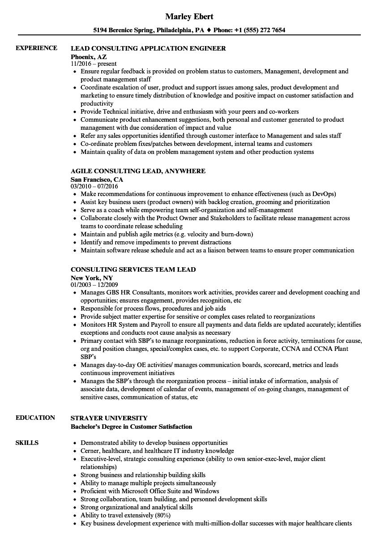 Consulting Lead Resume Samples Velvet Jobs