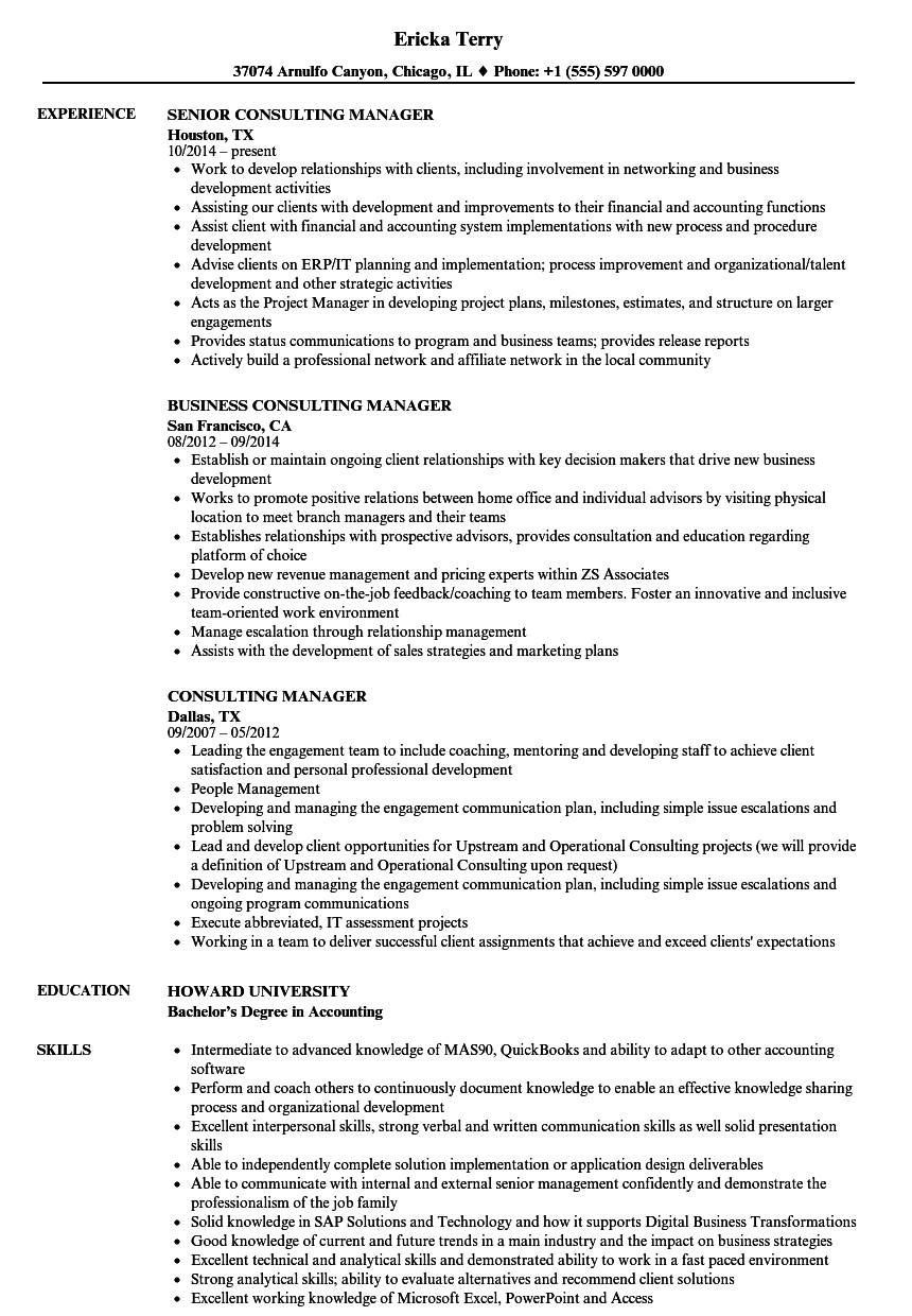 consulting manager resume samples