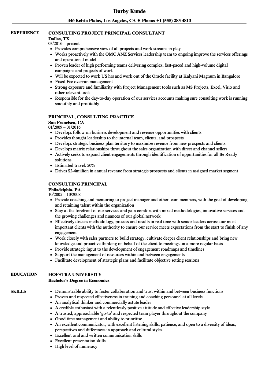 consulting principal resume samples