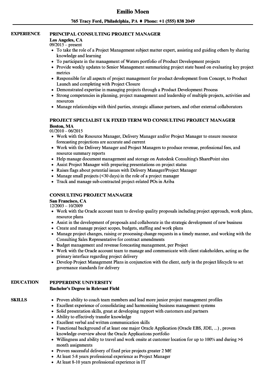 consulting project manager resume samples
