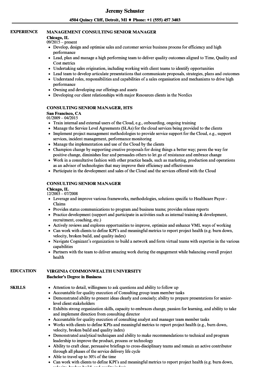 consulting senior manager resume samples