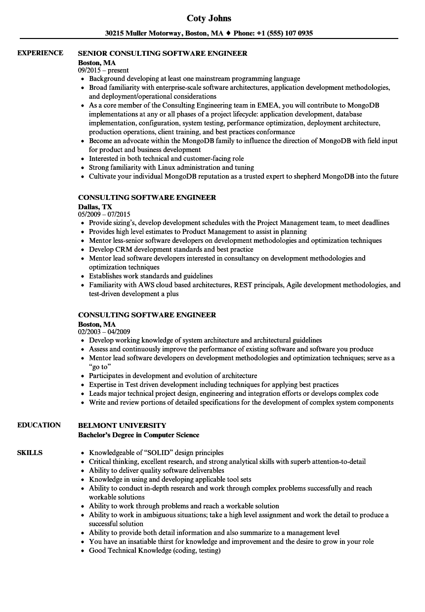 consulting software engineer resume samples
