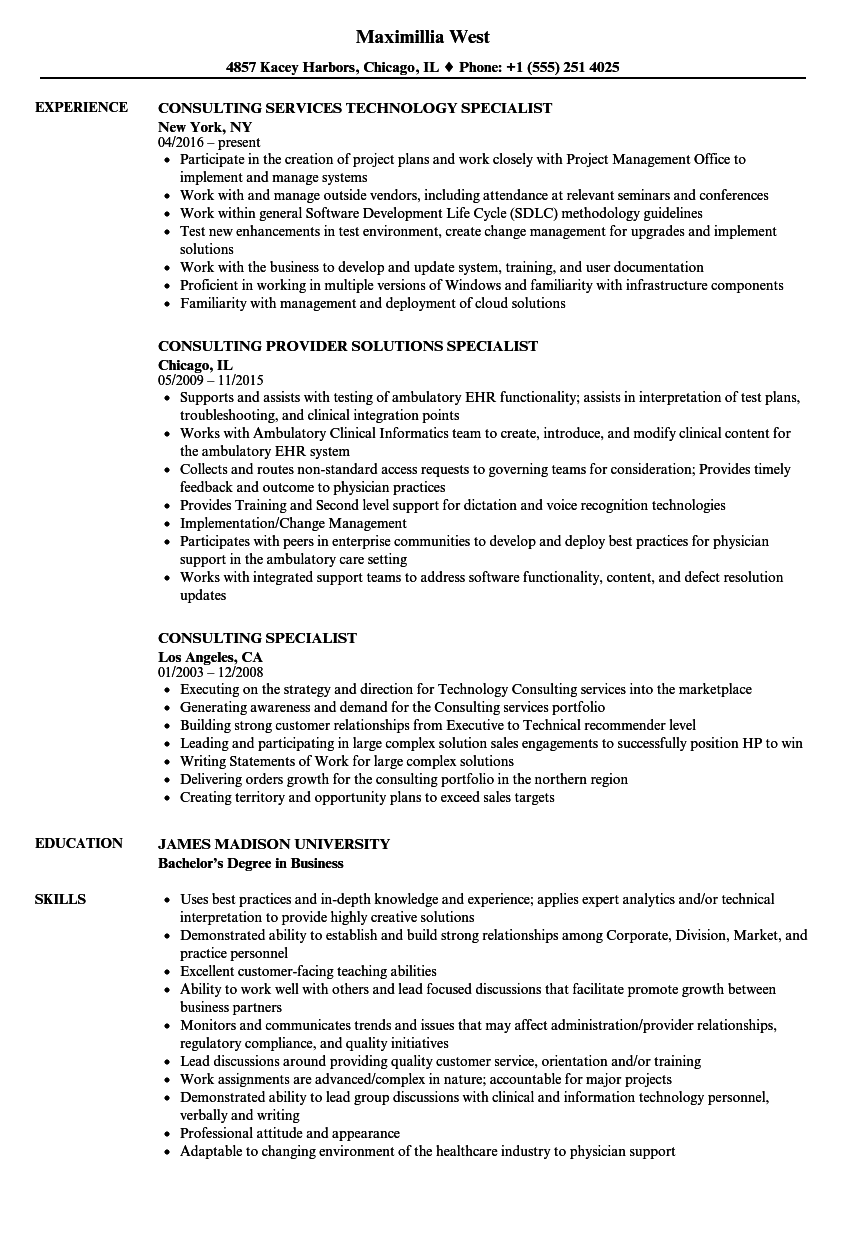 consulting specialist resume samples