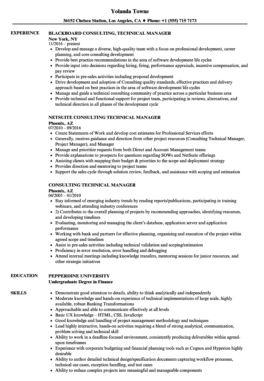 Download Consulting Technical Manager Resume Sample As Image File  Technical Manager Resume