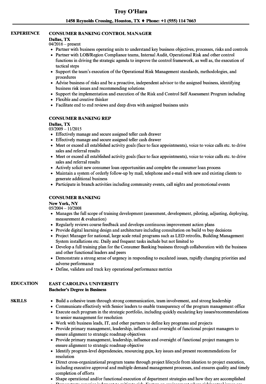 download consumer banking resume sample as image file - Banking Resume Examples