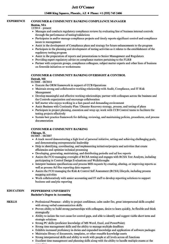 consumer  u0026 community banking resume samples