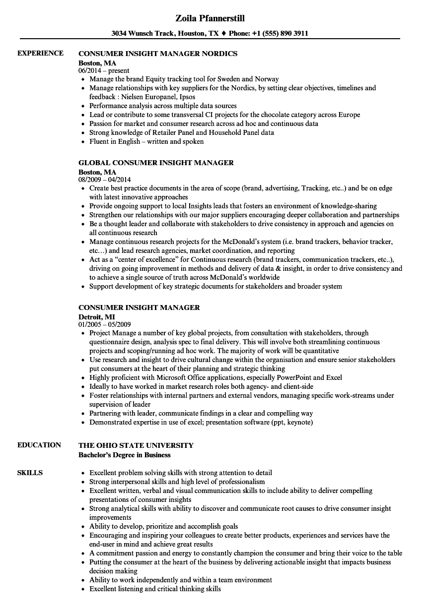 Consumer Insight Manager Resume Samples Velvet Jobs