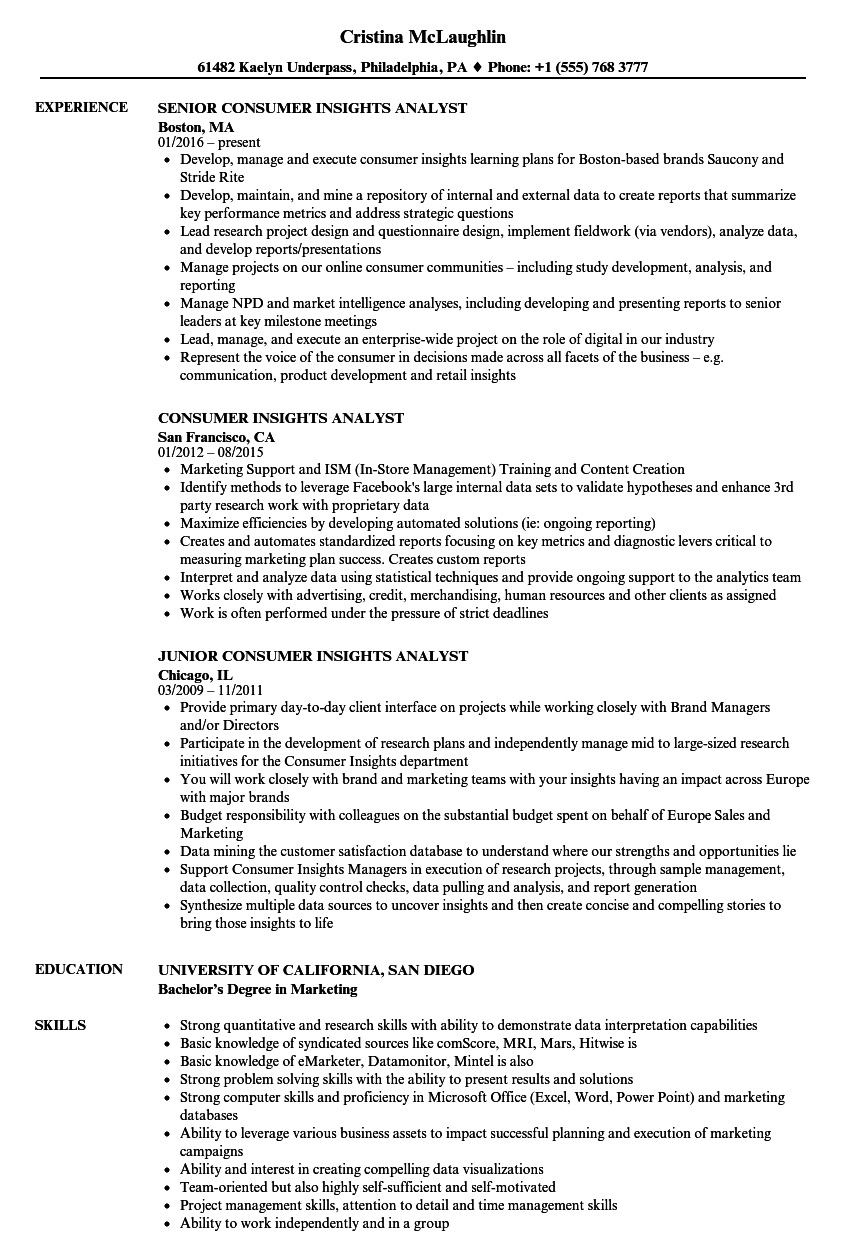 consumer insights analyst resume samples