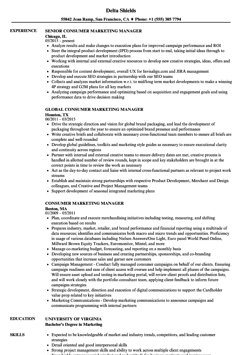 consumer marketing manager resume samples
