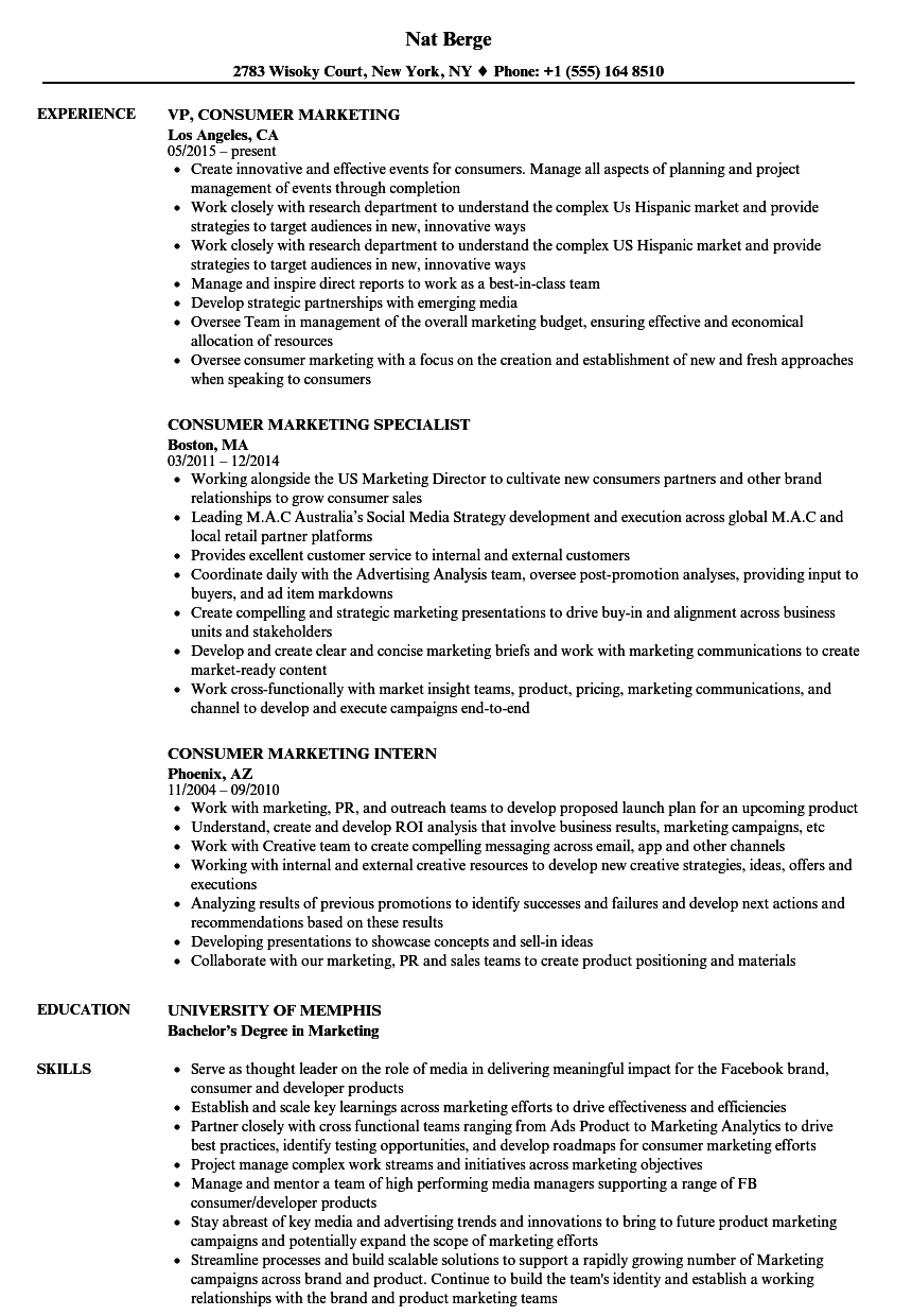 Consumer Marketing Resume Samples | Velvet Jobs