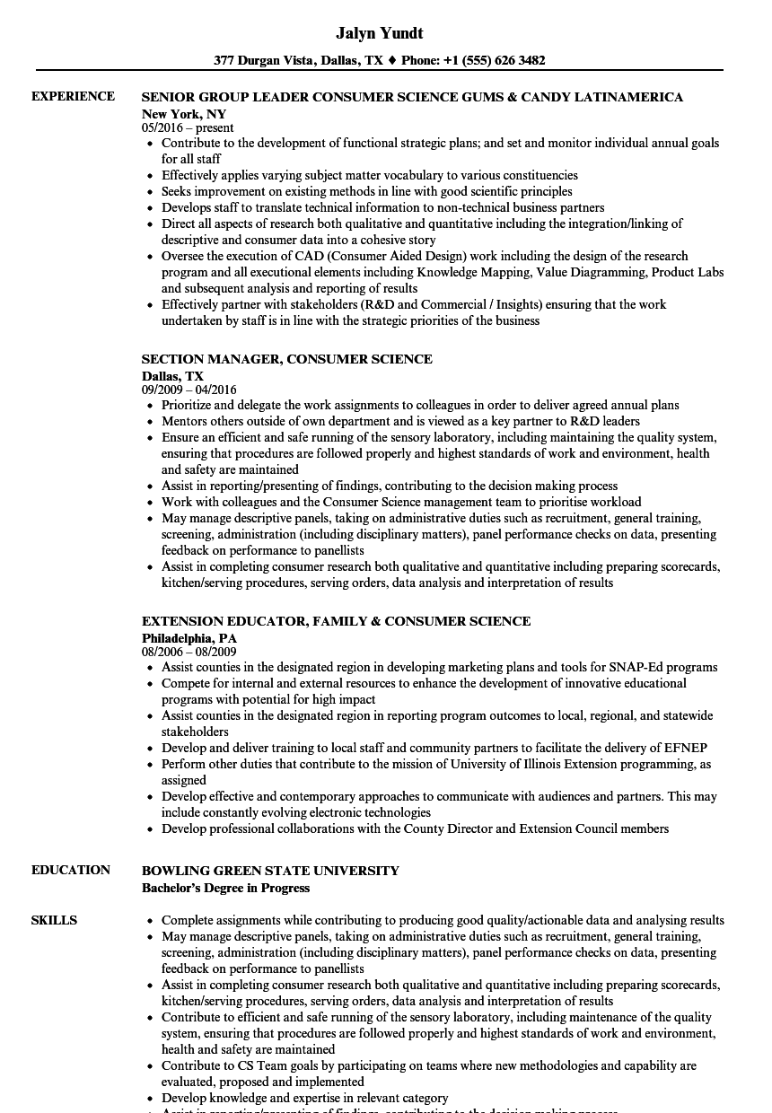 consumer science resume samples