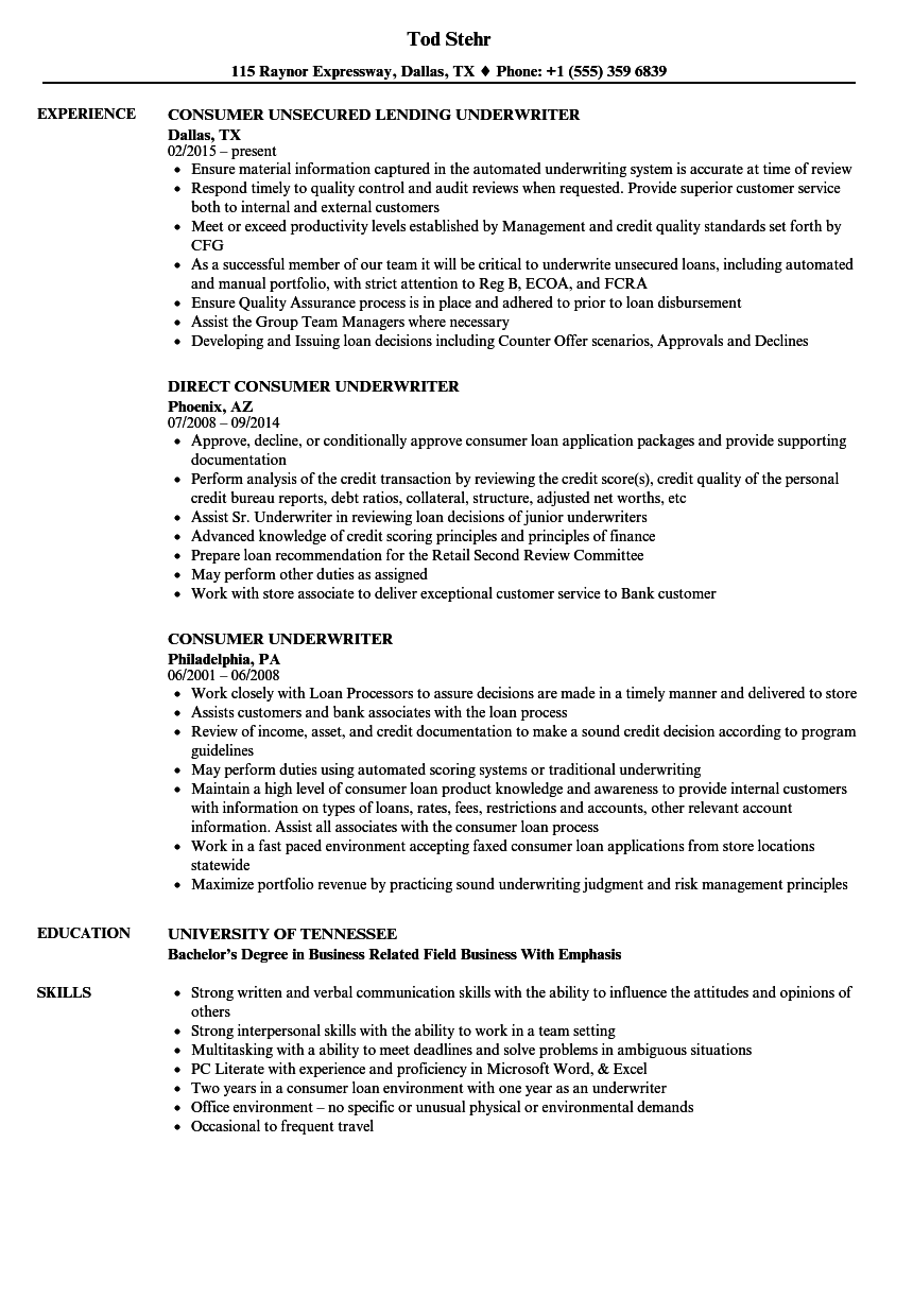 Consumer Underwriter Resume Samples