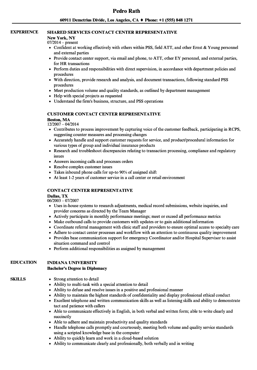 Contact Center Representative Resume Samples Velvet Jobs