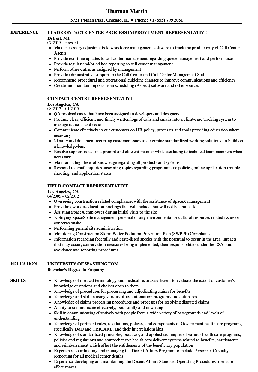 contact representative resume samples