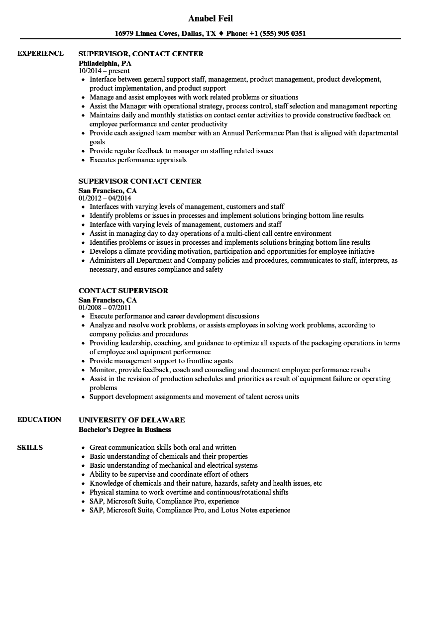 contact supervisor resume samples