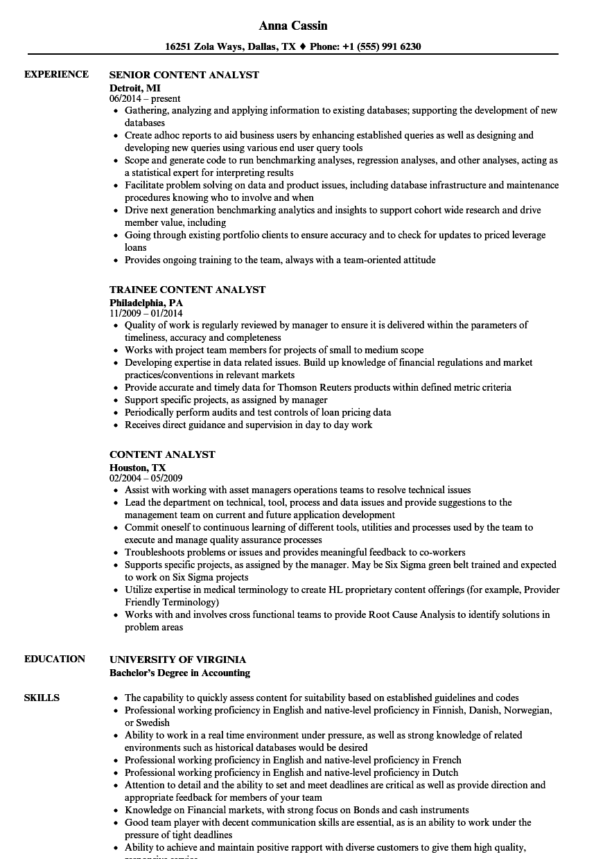content analyst resume samples