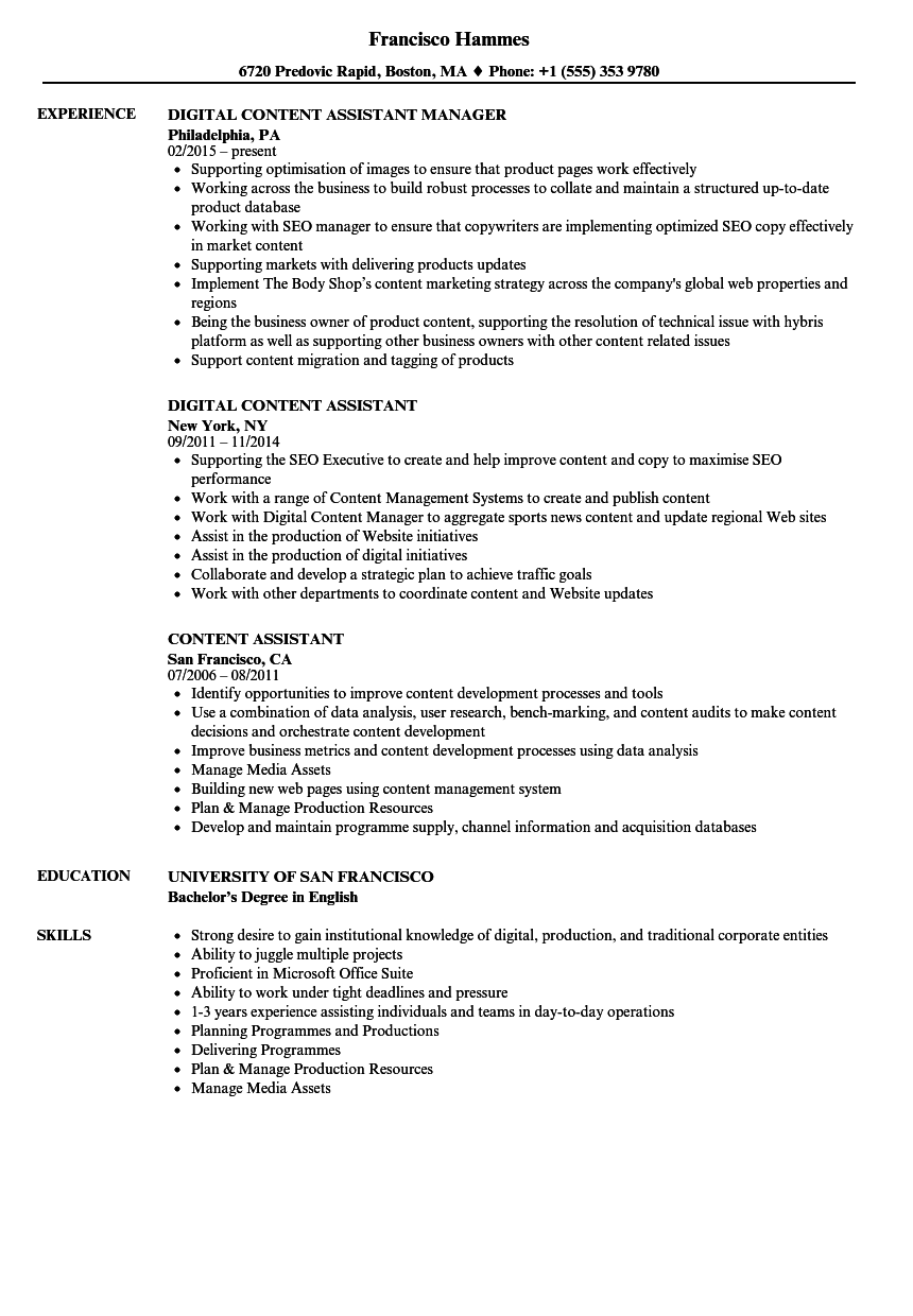 Content Assistant Resume Samples Velvet Jobs