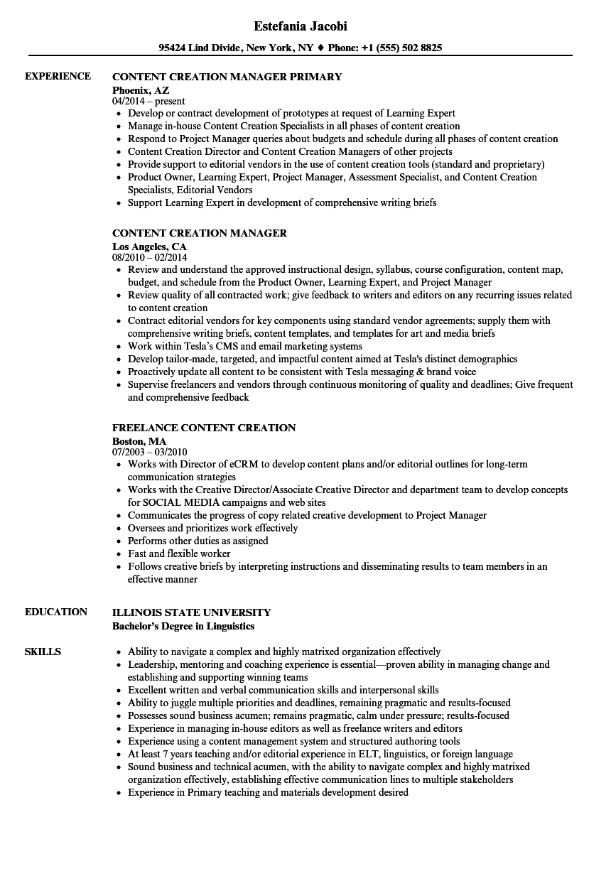 Content Creation Resume Samples Velvet Jobs