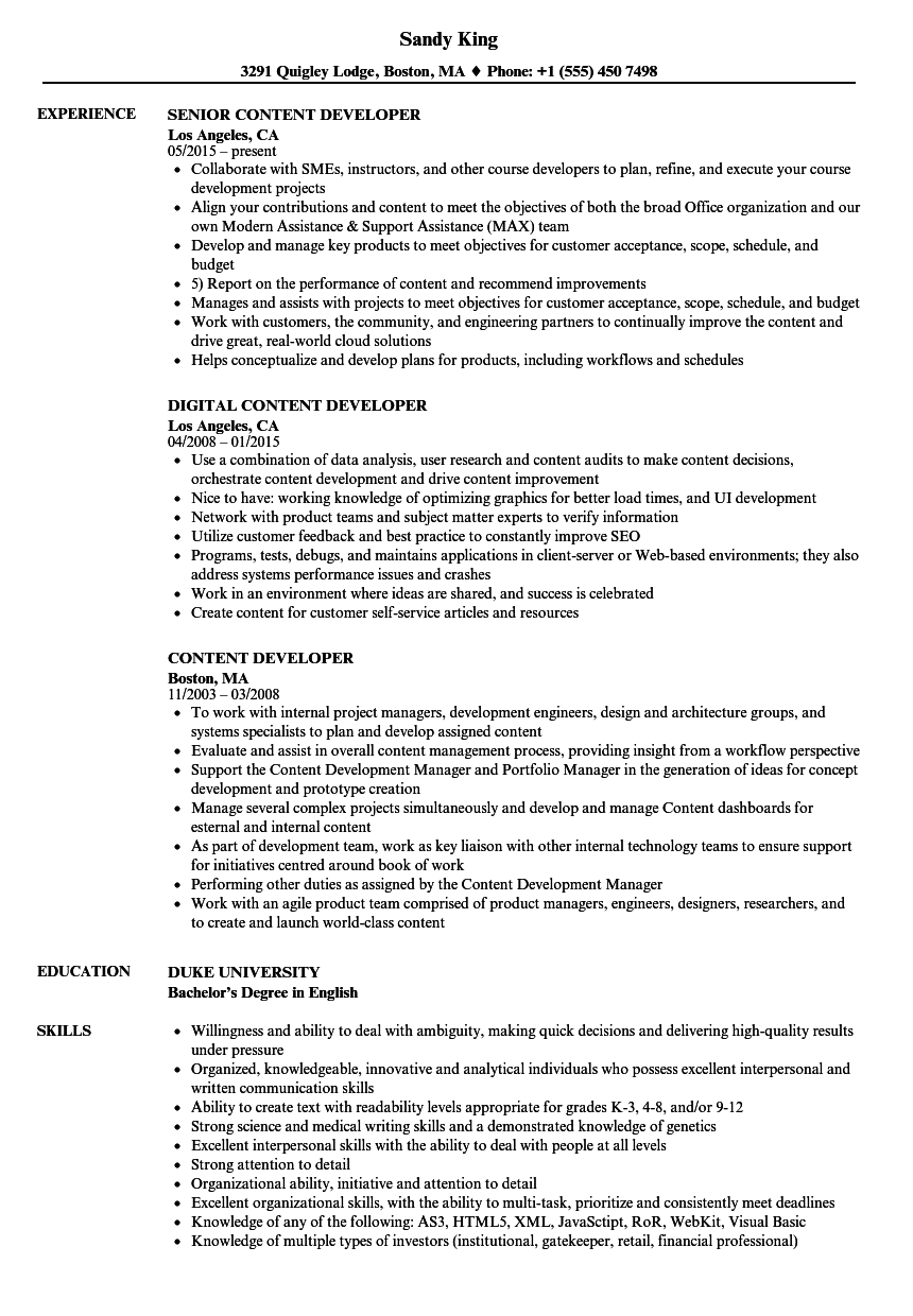 Content Developer Resume Samples Velvet Jobs