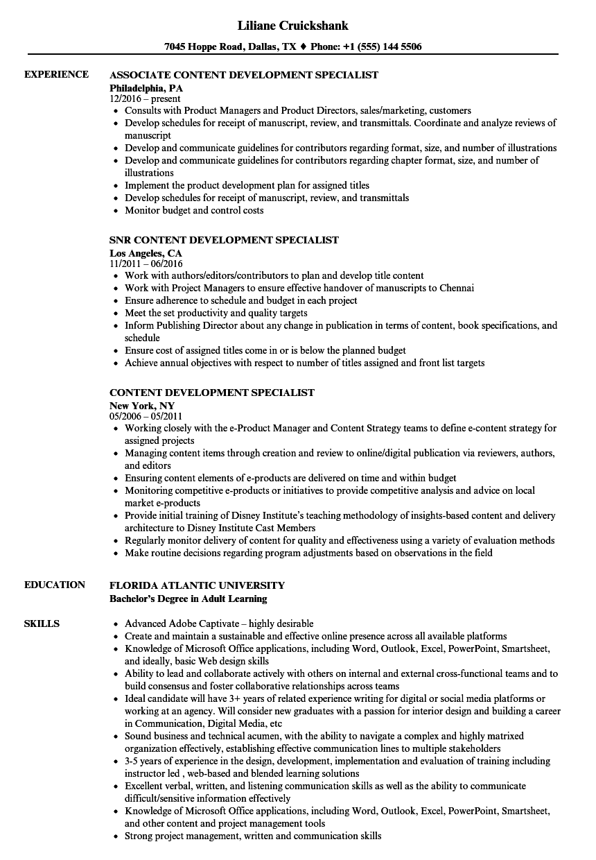Content Development Specialist Resume Samples Velvet Jobs