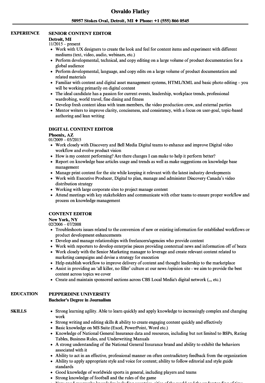 Content Editor Resume Samples Velvet Jobs