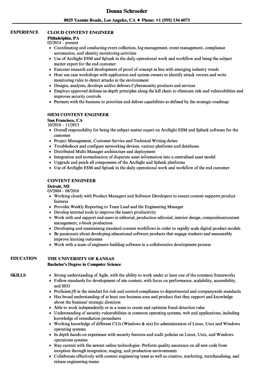 Content Engineer Resume Samples Velvet Jobs