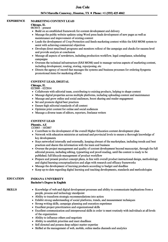 Content Lead Resume Samples | Velvet Jobs
