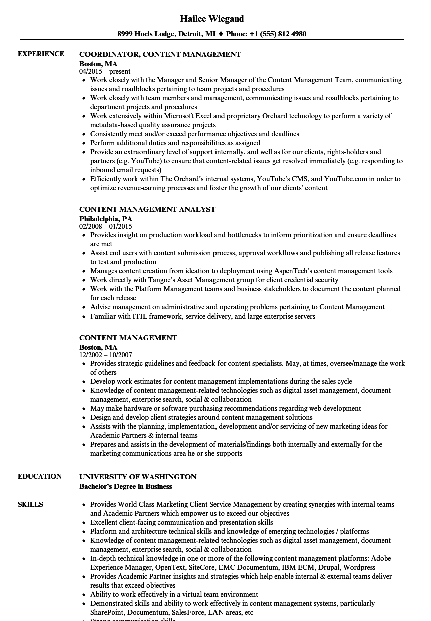 content management resume samples