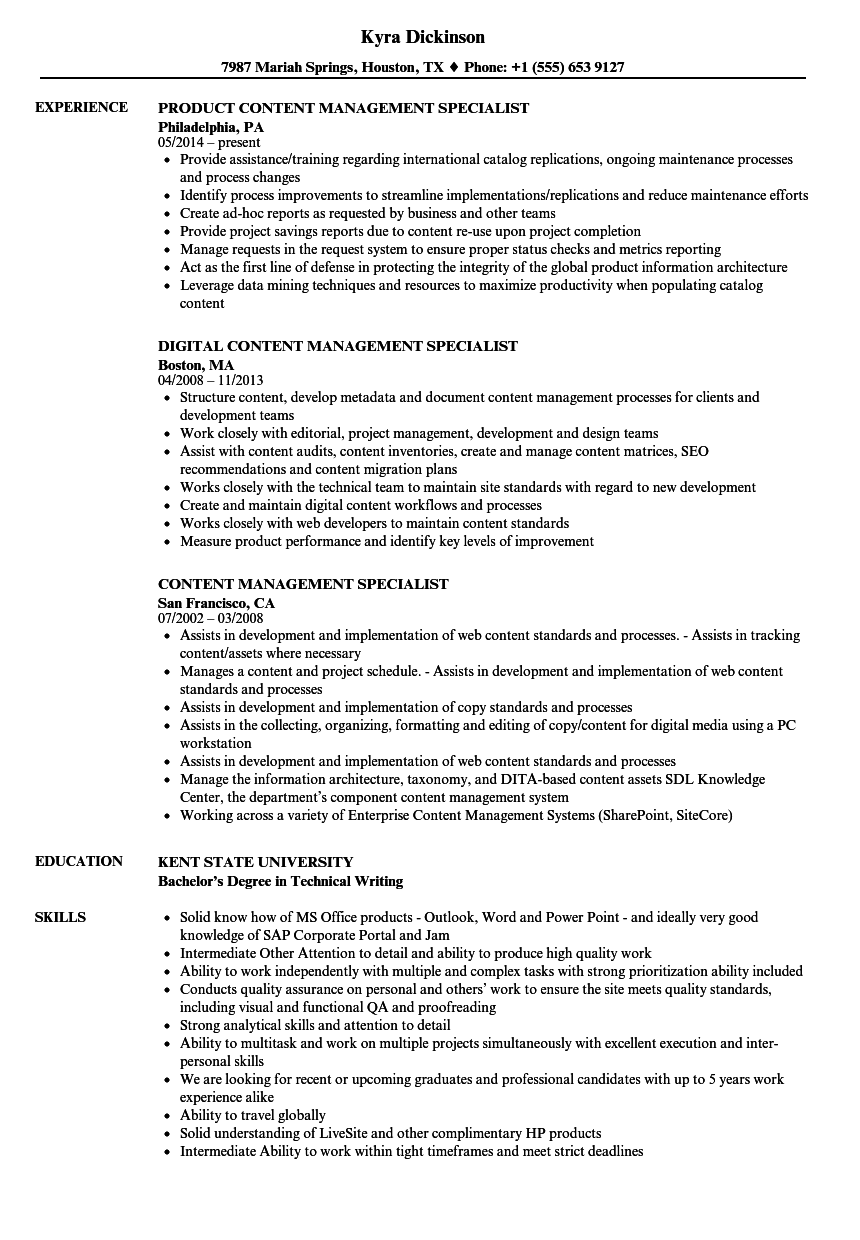 content management specialist resume samples