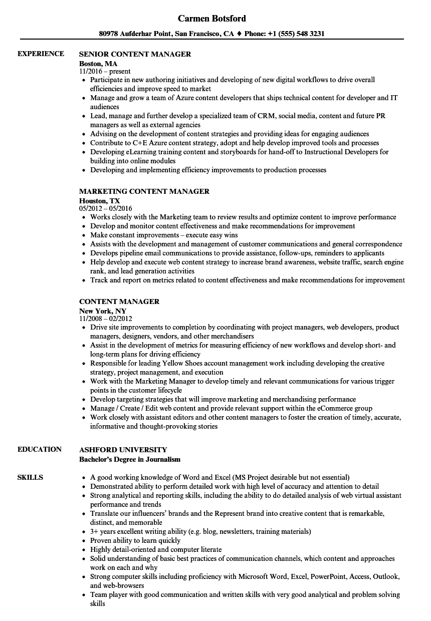 Content Manager Resume Samples | Velvet Jobs
