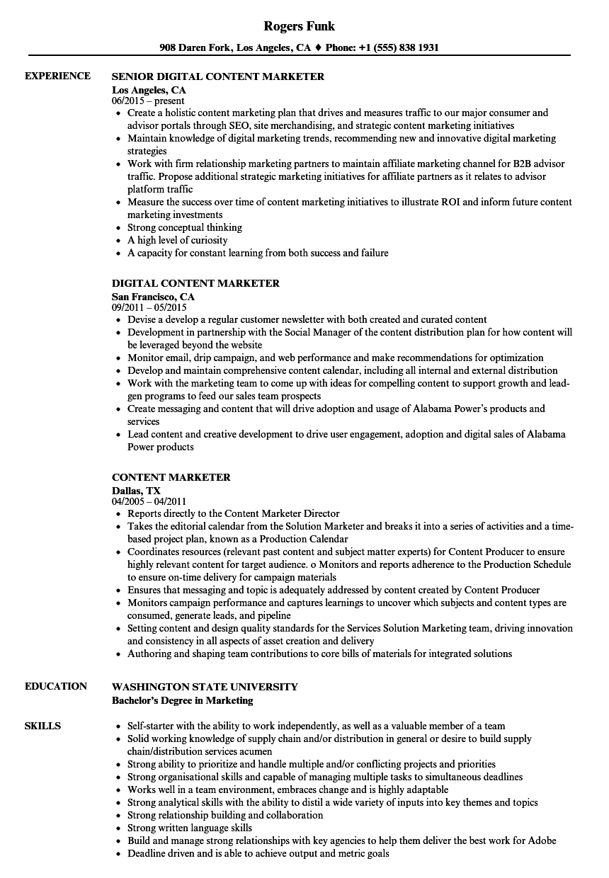 Content Marketer Resume Samples Velvet Jobs