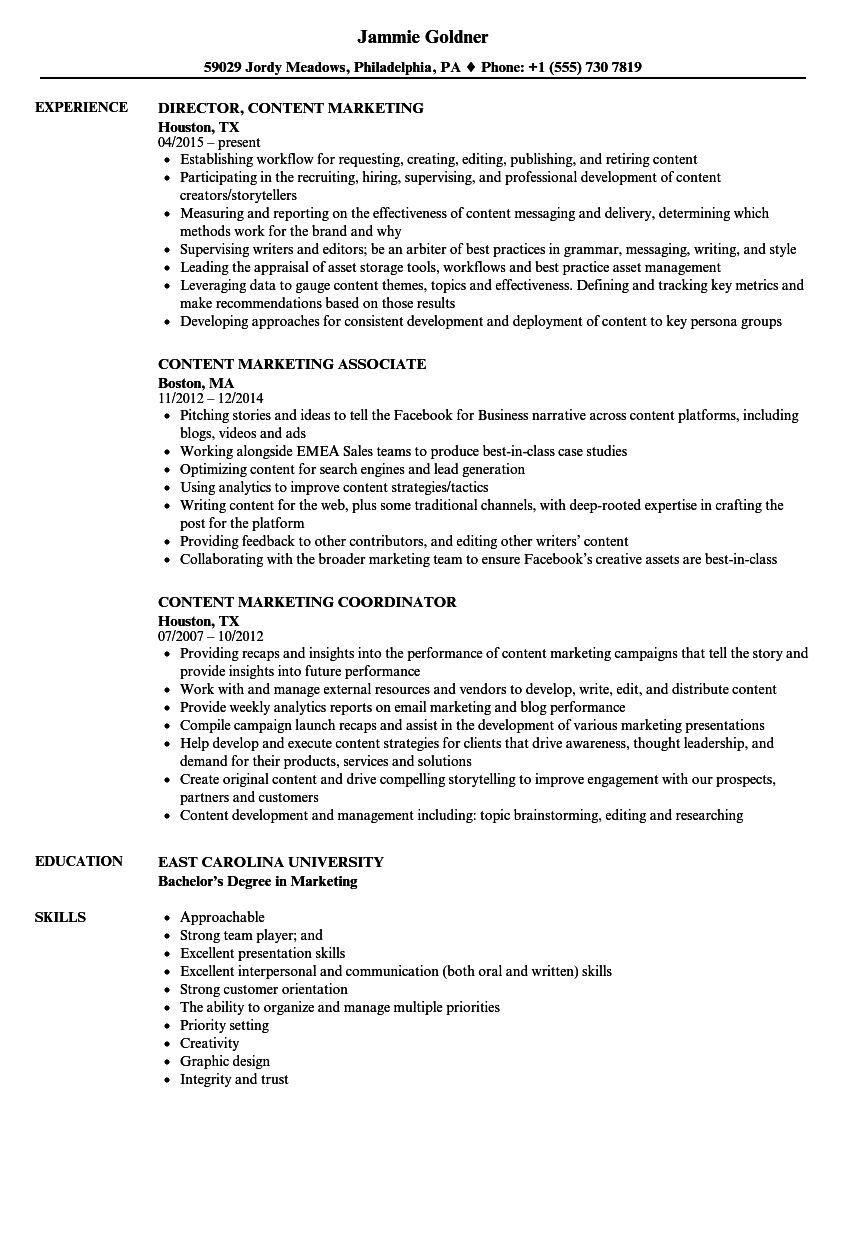 content marketing resume samples