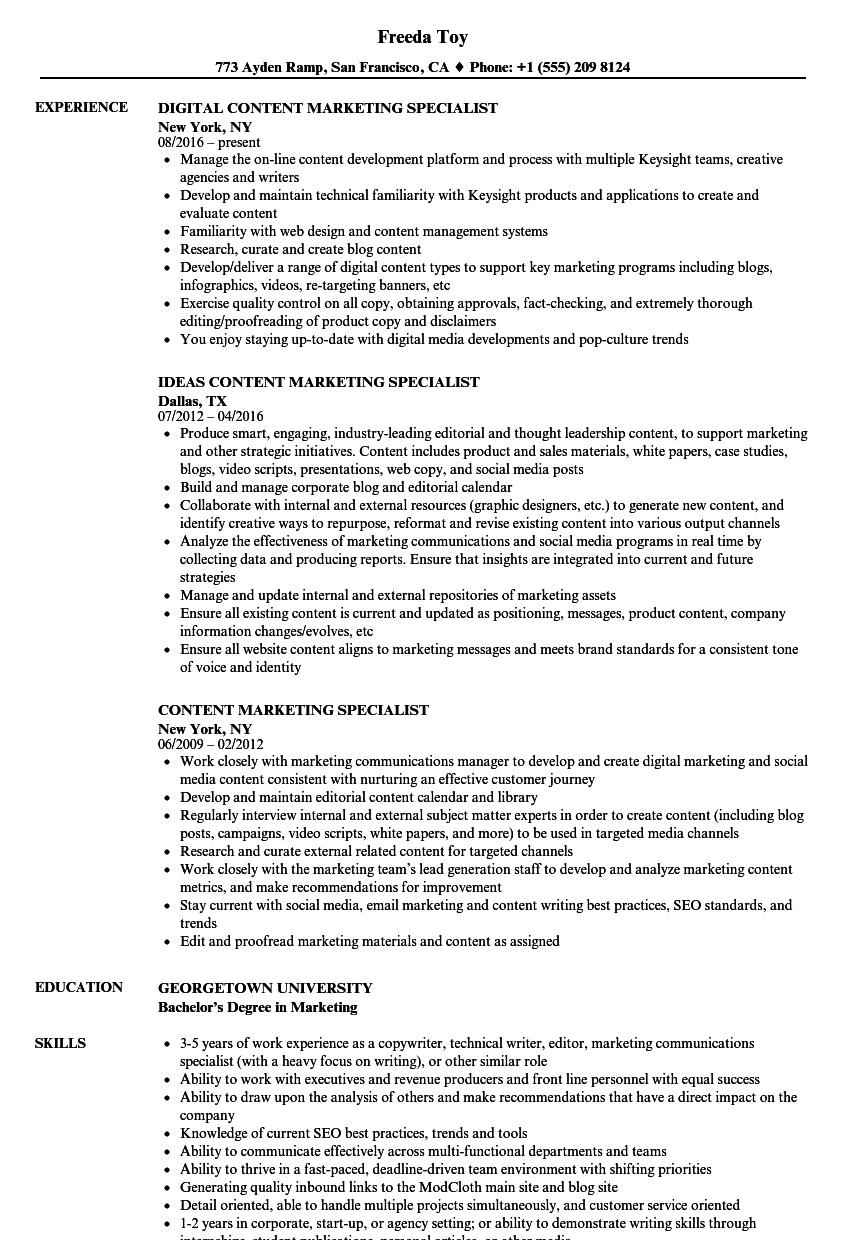 Content Marketing Specialist Resume Samples | Velvet Jobs