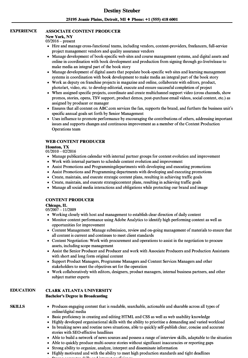 content producer resume samples