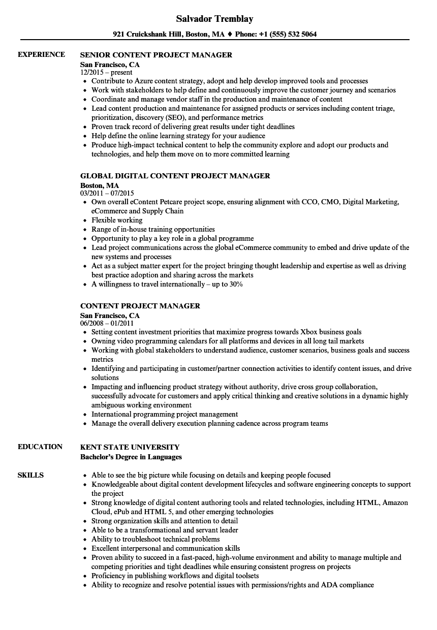 Content Project Manager Resume Samples | Velvet Jobs