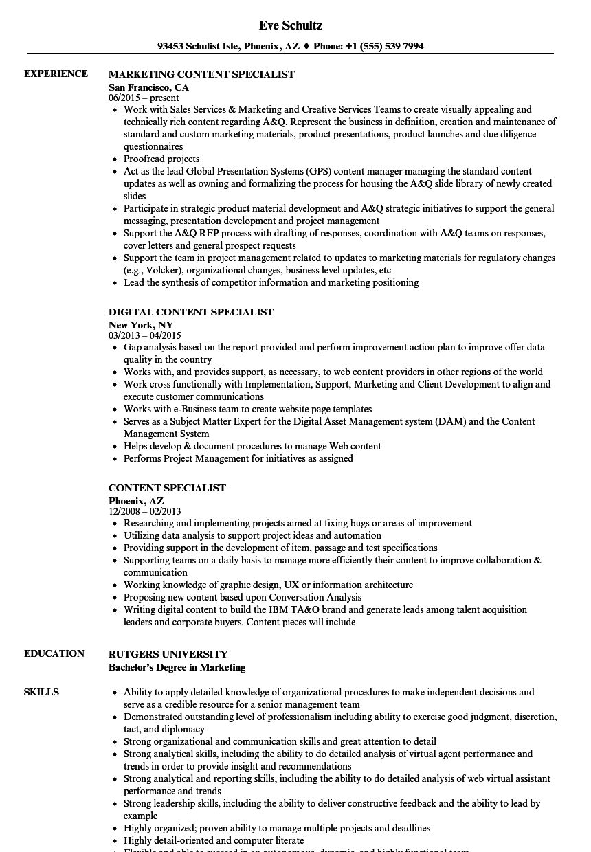 Content Specialist Resume Samples Velvet Jobs
