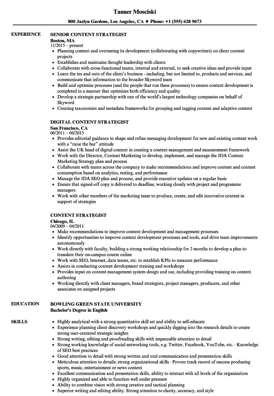 Content Strategist Resume Samples | Velvet Jobs