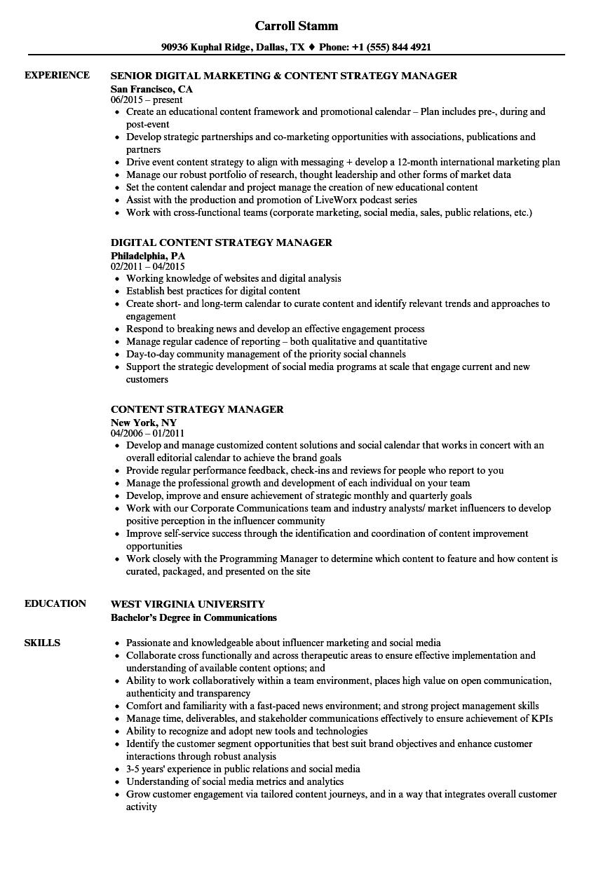 content strategy manager resume samples velvet jobs