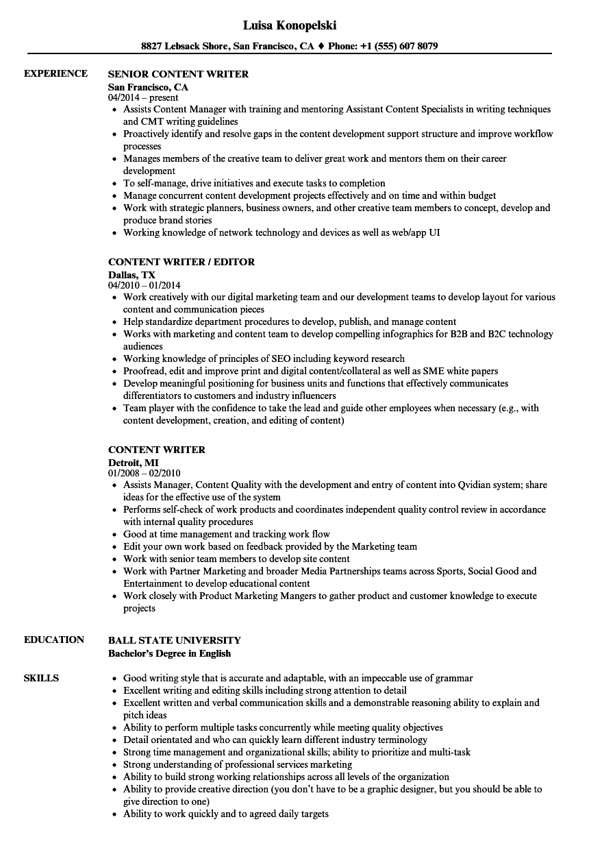 Content Writer Resume Samples | Velvet Jobs