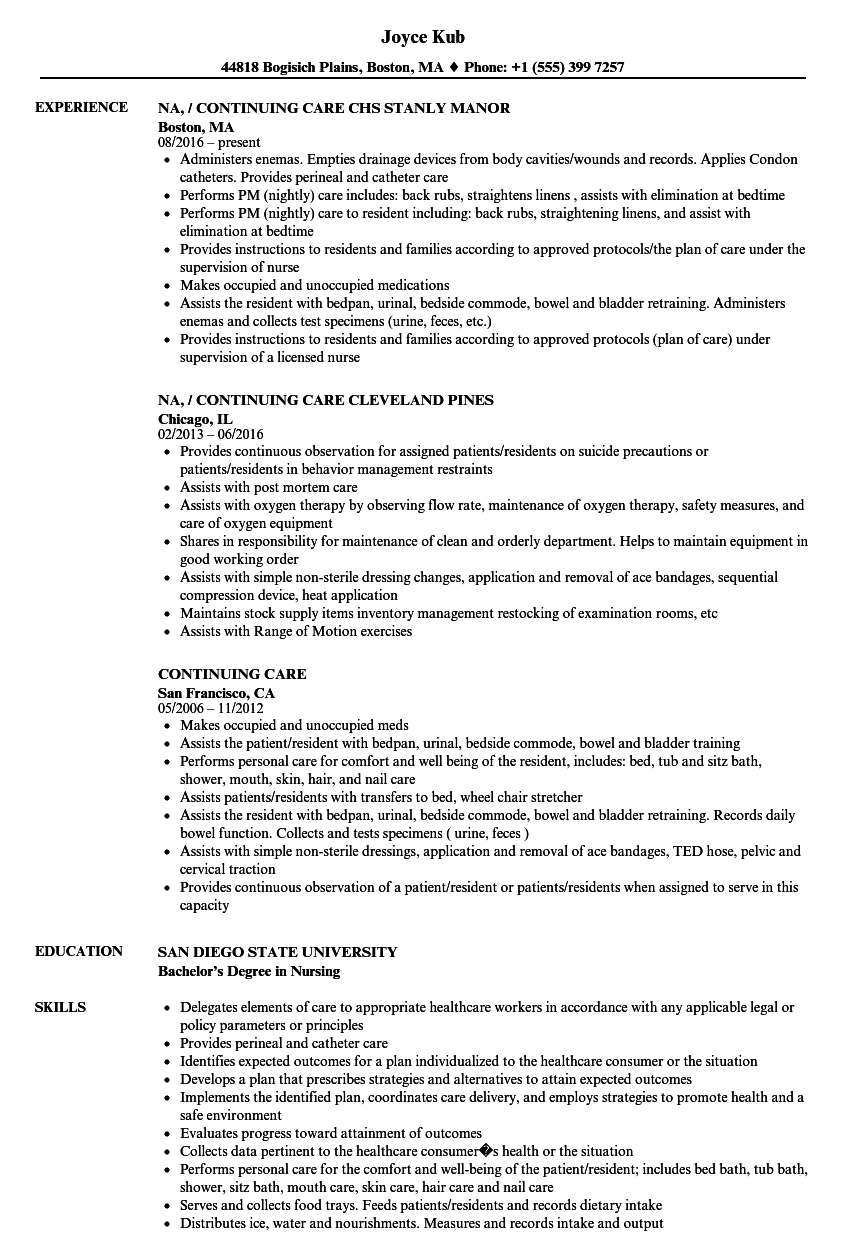 Continuing Care Resume Samples Velvet Jobs